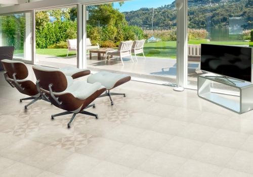 Ambiente sala porcelanato 61024 Cement Grigio Pure e 61012 Cement Grigio Molino
