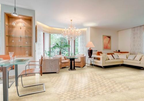 Ambientes sala porcelanatos 61025 Cement Beige Pure e 61011 Cement Beige Molino