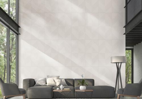 Ambiente sala porcelanato 61056 Cement Cale Grigio