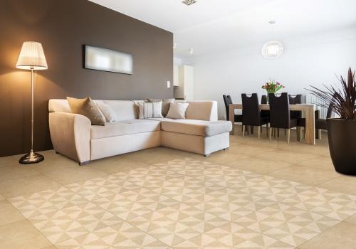 Ambientes sala porcelanatos 61009 Cement Beige y 61011 Cement Beige Molino