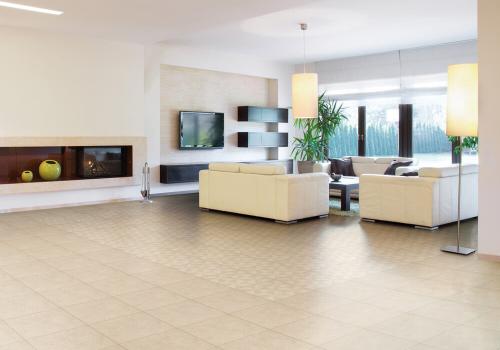 Ambientes porcelanato 61025 Cement Beige Pure e 61011 Cement Beige Molino