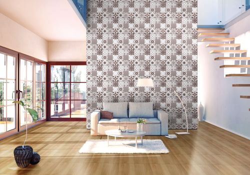 Ambiente sala porcelanato 61028 Patchwork Grigio