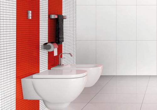 Ambiente banheiro revestimentos HD3237 Vitro Rosso e HD3250 Vitro Bianco