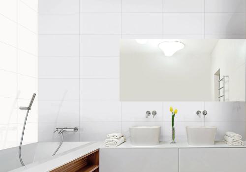 Ambiente banheiro R3101 Classic Bianco Luxor e R3116 Classic Gray Luxor