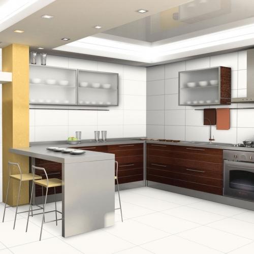 Ambiente cozinha piso 56010 Classic Bianco e revestimentos 32001 Classic Bianco e 3270 Titlis White