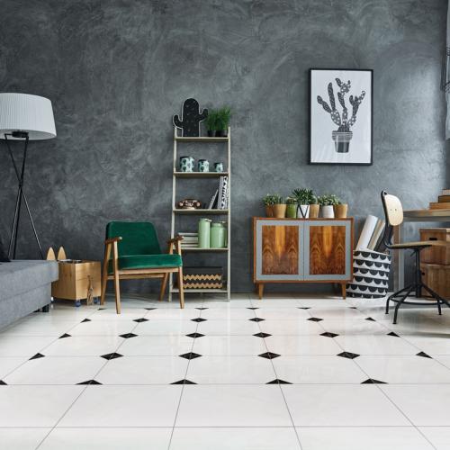 Ambiente sala pisos 56067 Geometric Carrara Grigio e 56068 Carrara Grigio