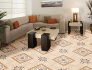 Living room environment floor tile 45708 Geometric Marble Bege