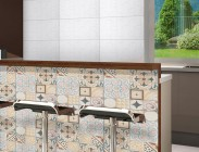 Environment kitchen floor tile 56045 Patchwork Marfil Acetinado and wall tiles HD32120 Miracoli